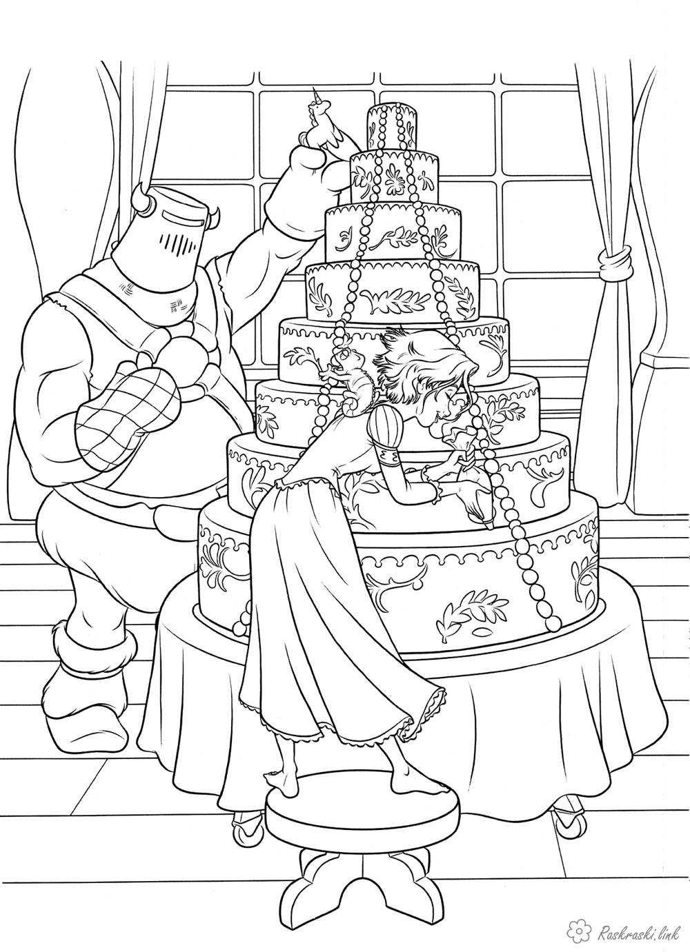 торт Розмальовки роздрукувати бесплатно.